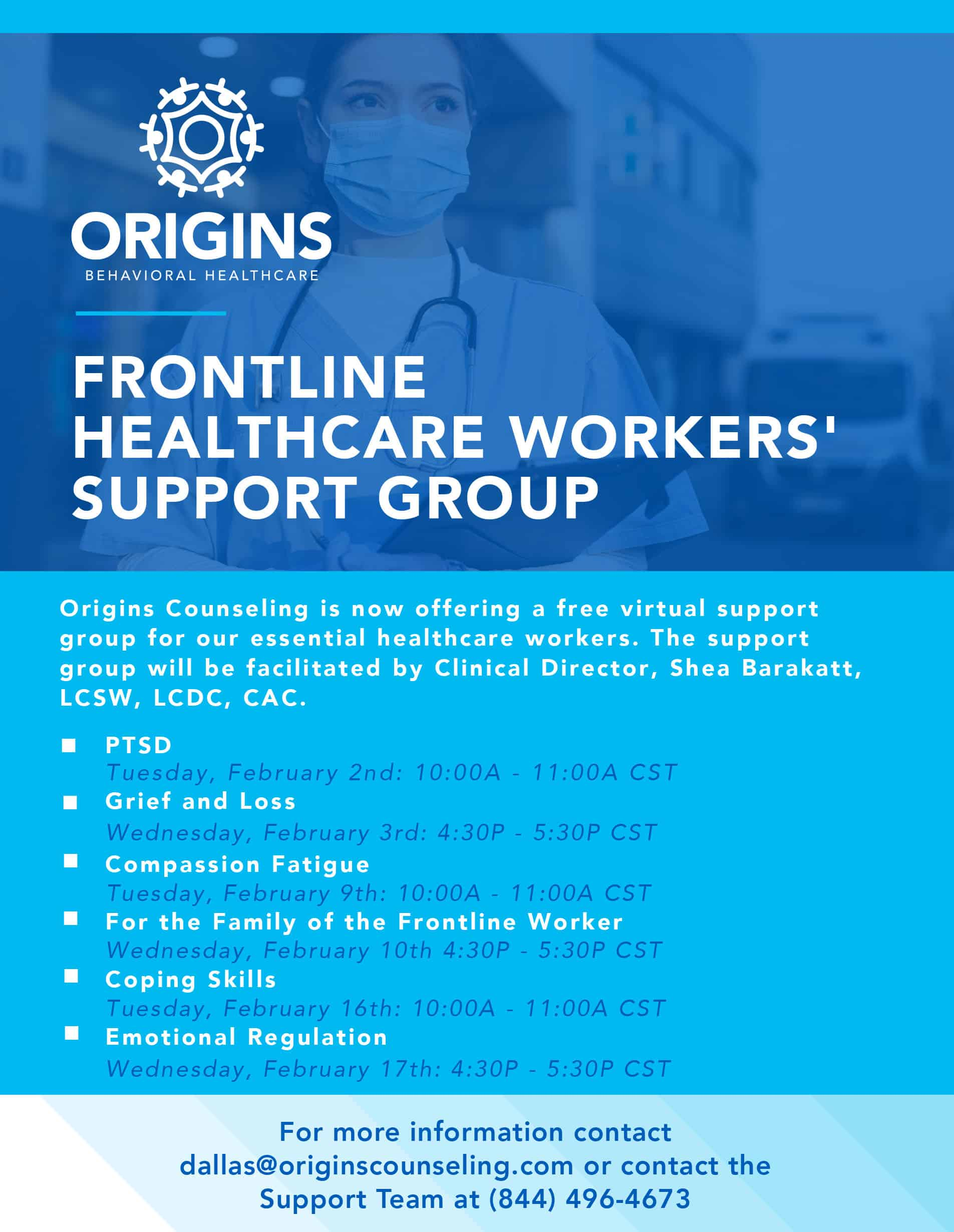 Schedule for Free Frontline Healthcare Workers Support Groups